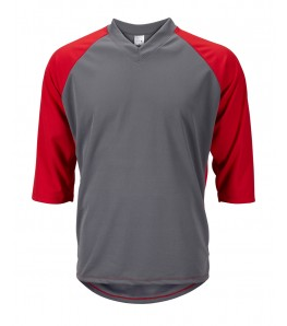eCycle Mens 3/4 Sleeve Mountain Bike Jersey Gray/Red