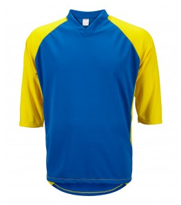 eCycle Mens 3/4 Sleeve Mountain Bike Jersey Blue/Yellow