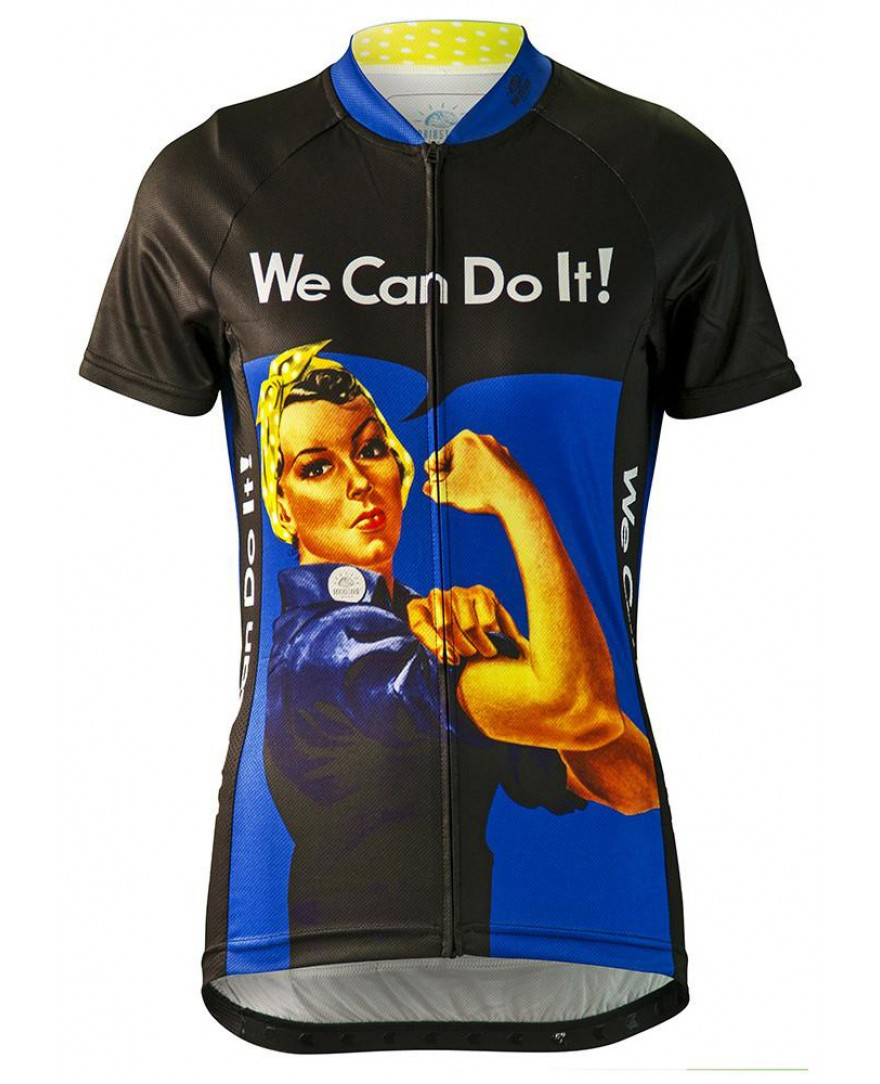 Rosie the Riveter Womens Cycling Jersey Blue