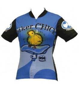 Precaryous Biker Chick Short Sleeve Jersey Blue