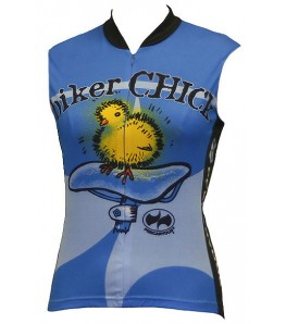 Precaryous Biker Chick Sleeveless Jersey Blue