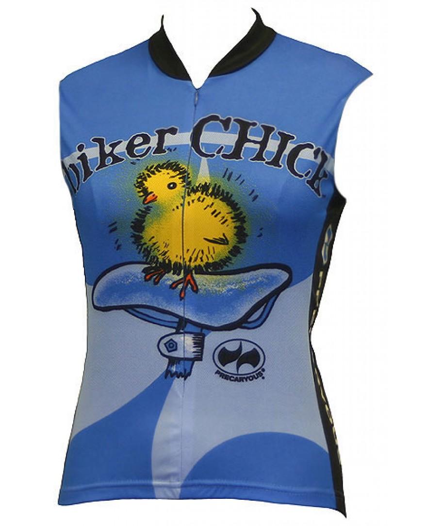 Precaryous Biker Chick Sleeveless Jersey Blue