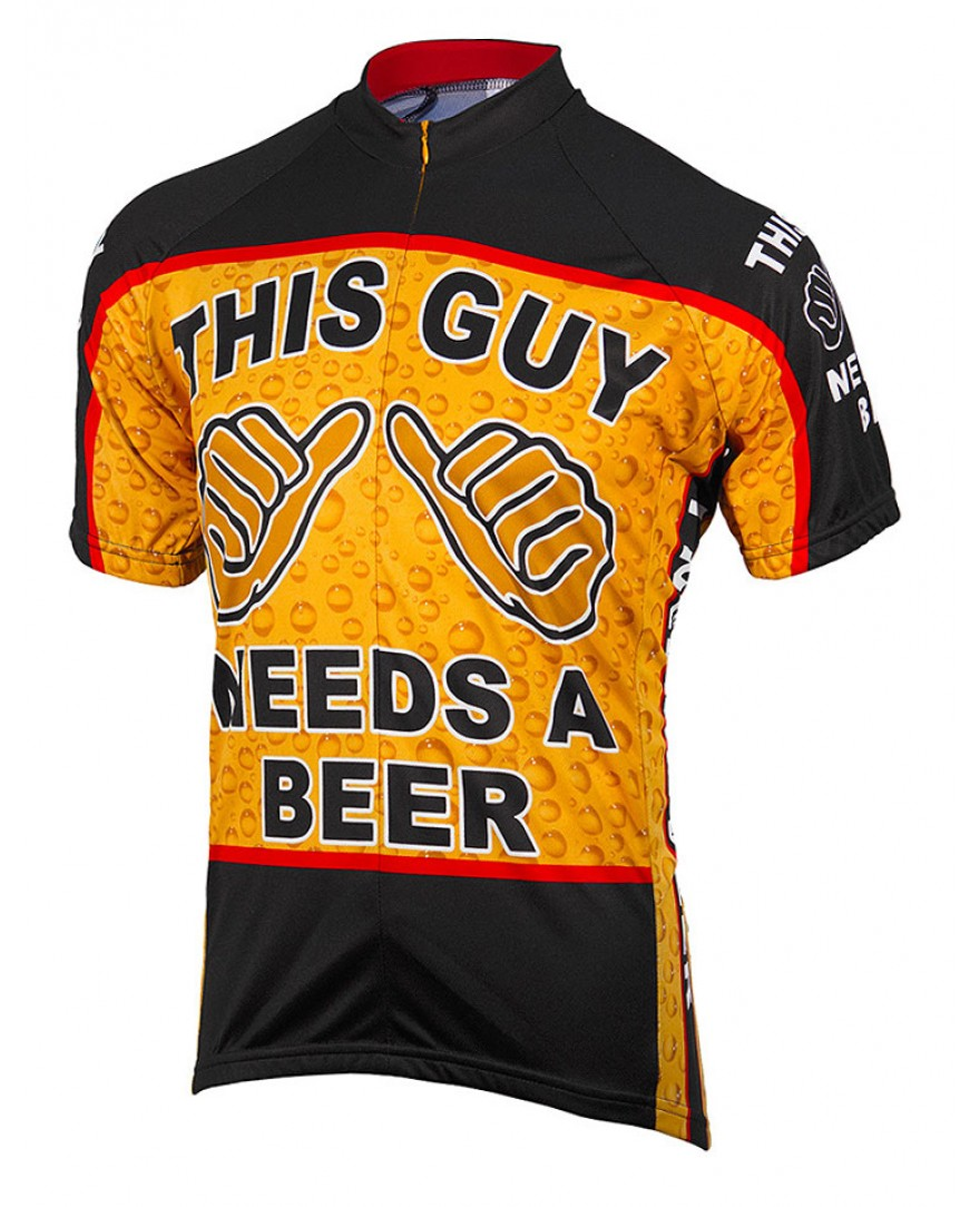 eCycle This Guy Needs a Beer Mens Cycling Jersey