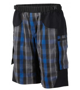 Outlaw Bullet Mens Mountain Bike Shorts Blue Plaid