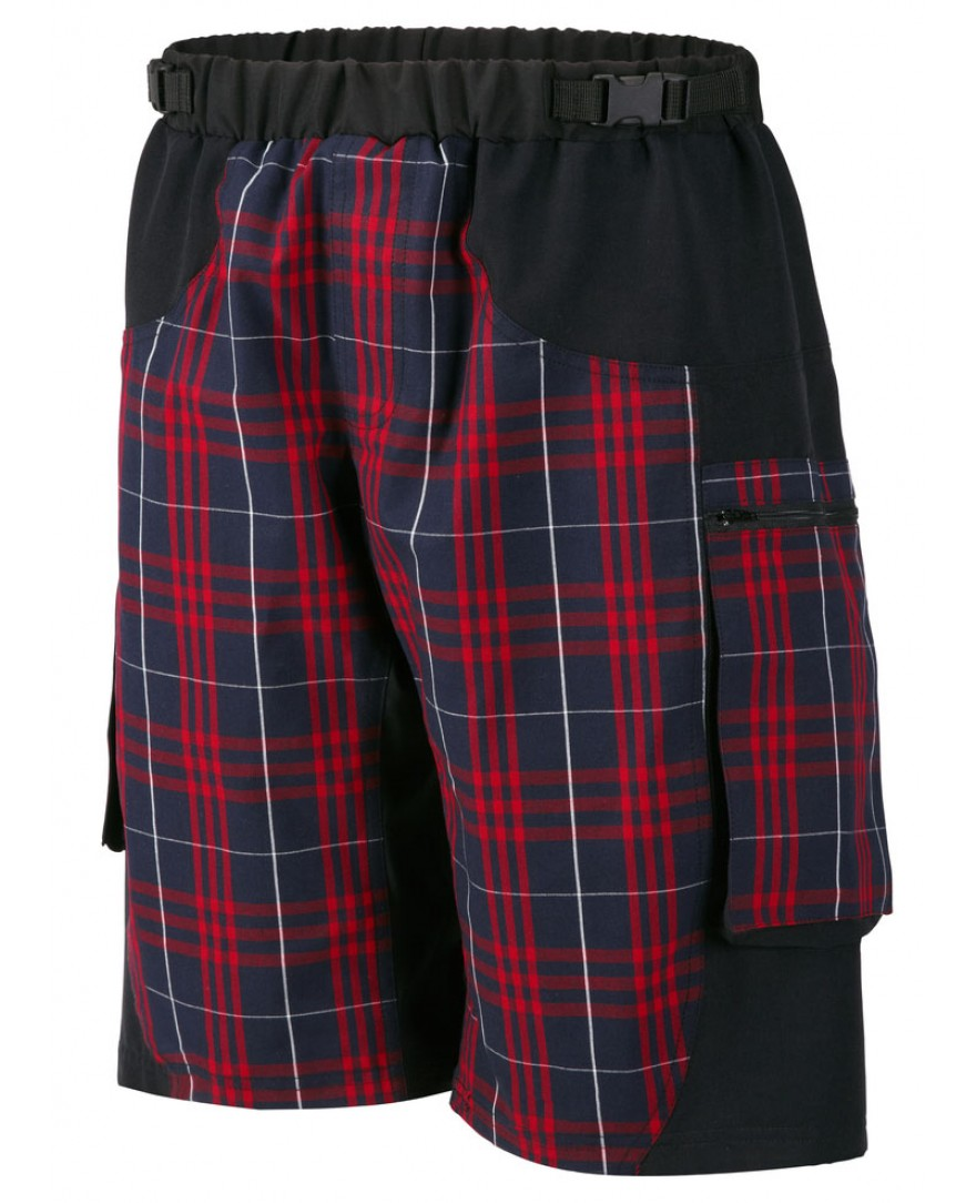 Outlaw Bullet Mens Mountain Bike Shorts Red Plaid