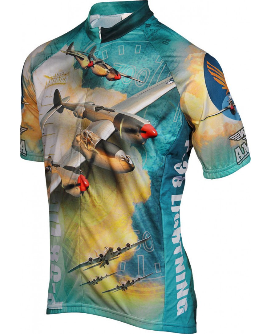 WWII P-38 Lightning Airplane Mens Cycling Jersey