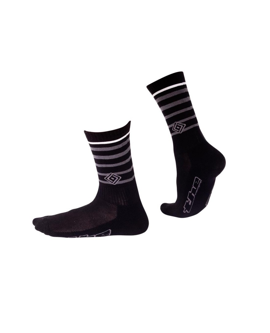 THE 8 Cuff Striped Cycling Sock Black